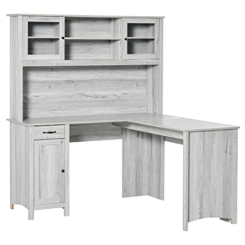 HOMCOM L-Shaped Desk with Hutch, Computer Desk with Drawers, Home Office Corner Desk Study Workstation Table with Storage Cabinets Shelves, Grey