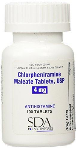 DA Chlorpheniramine Maleate 4mg Tablets 100 Count