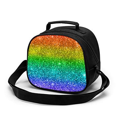 Risating Wiederverwendbare Lunchbox-Tasche, Regenbogen-Glitzer, multifunktionale Mahlzeiten-Tragetasche mit Schultergurt, Reißverschluss, für Jungen und Mädchen, Outdoor-Reisen, 19,1 x 21,6 x 12,7 cm