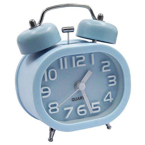 EASEHOME Retro Reloj Despertador Analógico de Cuarzo, 3' Doble Campanas Despertadores Silencioso Vintage Relojes de Mesita Sin Tictac con Luz de Noche y Fuerte Alarma para Niños Adultos, Azul