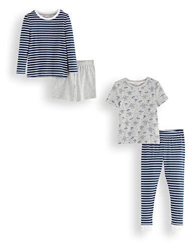 Amazon-Marke: RED WAGON Jungen Pyjama-Set aus Baumwolle, 2er-Pack, Mehrfarbig (Stripe/Space), 110, Label:5 Years