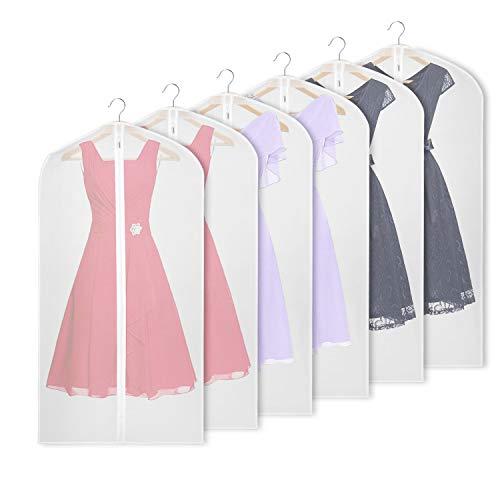 Univivi Hanging Garment Bag 43 inch Suit Bag for Storage(Set of 6) Washable Translucent Lightweight Garment Bags for Dress Suits, Jackets, T-Shirt, Sports Coats etc.(60cm*109cm)