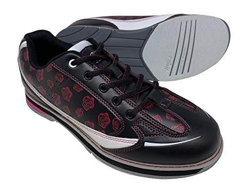 SaVi Bowling Products Bowlingschuhe für Damen mit erhöhtem Absatz und Universalsohlen für Rechts- und Linkshänder, Schwarz (Weiß/Schwarz/Rot), 38 EU