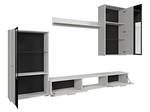 Wohnwand – Moderne Mediawand in schwarz/weiß Bild 3*