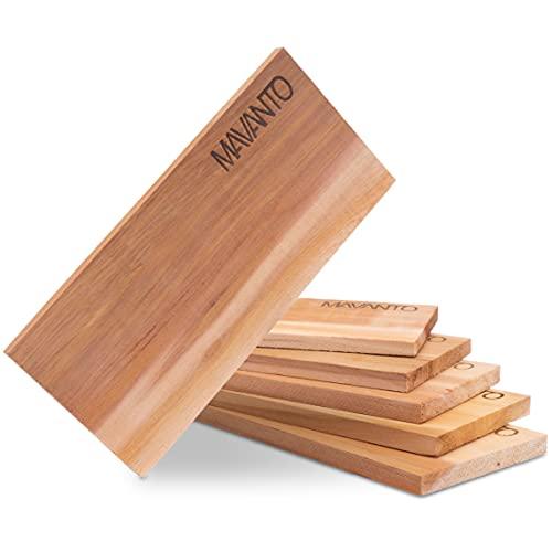 MAVANTO® XXL Grillbretter Räucherbretter - Kanadisches Zedernholzbrett zum Grillen - EXTRA DICK (30x14x1,5cm) langlebig & wiederverwendbar (6er Set)