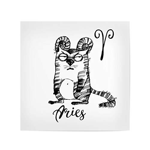 artboxONE Poster 20x20 cm Comic Aries cat hochwertiger Design Kunstdruck - Bild Aries Widder Sternzeichen