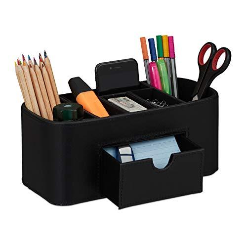 Relaxdays Schreibtischbedarf Organizer Kunstleder Büro 7 Etagen Stiftehalter 10,5 x 26 x 11,5 cm verschiedene Farben