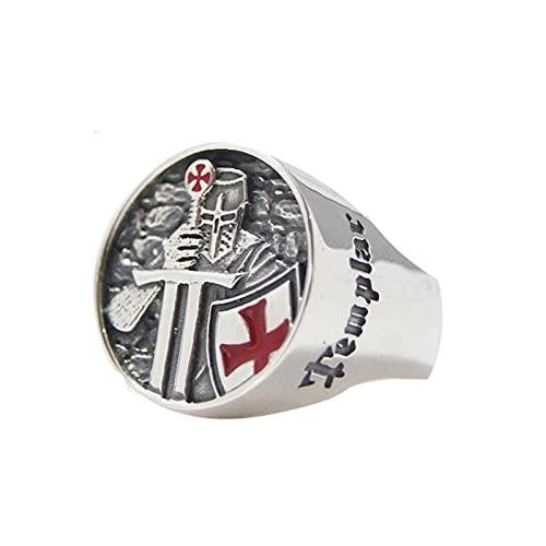 Anillos de acero inoxidable para hombre, armadura roja, escudo, caballero, templario, cruzado, anillo cruzado, joyería punk, regalo de fiesta9