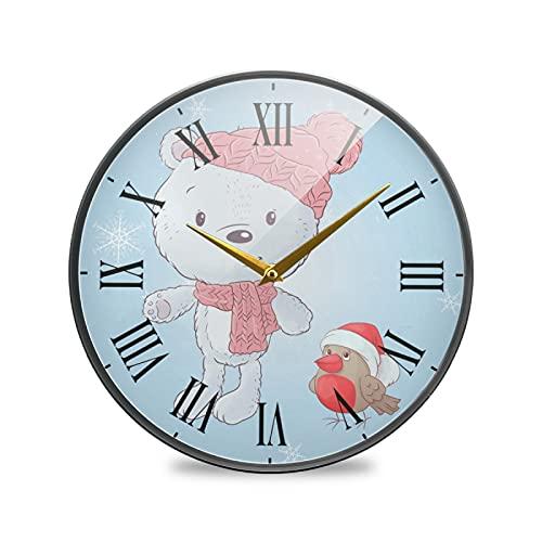 Dibujos Animados Oso Blanco Búhos Pájaro Arte Reloj de Pared Silencioso Decorativo Relojs para Niños Niñas Cocina Hogar Oficina Escuela Decoración
