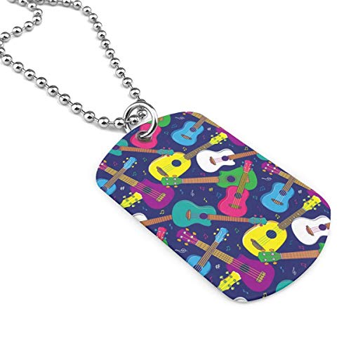 90ioup Colorful Hawaiian Ukulele Military Necklace Dog Tag Stainless Steel Chain Pendant Keychain