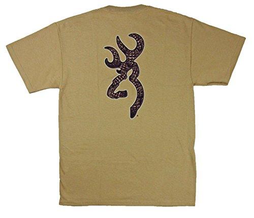 Men's Browning Boot Tread Buckmark Tee Tan Short Sleeve T-Shirt (Medium)