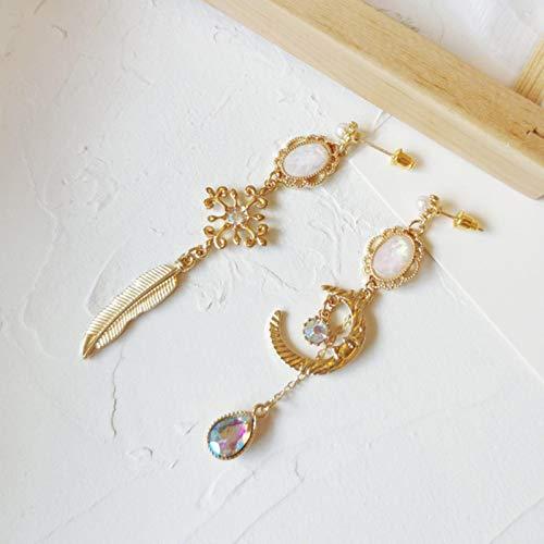 Orecchini A Clip con Piume Color Oro della Boemia da 8,6 Cm Nessun Clip Lunare Trafitto Lungo Sull'orecchio Senza Foro per Le Donne