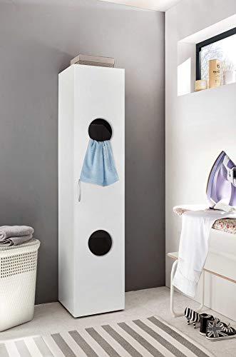 lifestyle4living Wäscheschrank in weiß mit 2 Aussparungen, Schrank mit 2 Einlegeböden und 2 praktischen Wäscheboxen, Hochschrank zum einfachen Sortieren Ihrer Wäsche