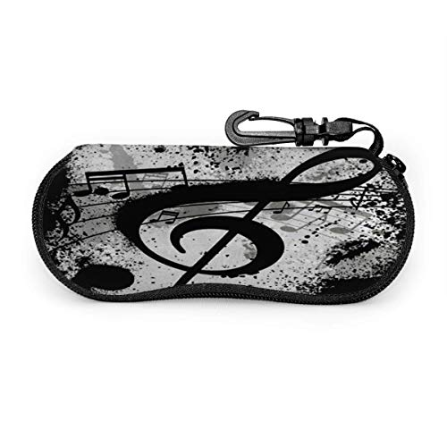 sherry-shop Estuche de gafas Black Music Note Gafas de sol abstractas Estuche blando Estuche de anteojos con cremallera de neopreno ultraligero Estuche con llavero