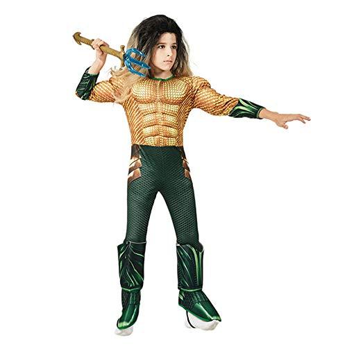 DC - Justice League Pelicula - Disfraz Aquaman Halloween Navidad Niños Músculo Cosplay Costume (Verde, S 110-120)