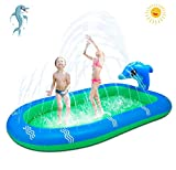 MVP BOY Inflatable Sprinkler Pool Water Toys for Kids, Upgraded 3 in 1 Splash Pool, Outdoor Backyard Swimming Gifts for Toddlers Kids Children(Large)