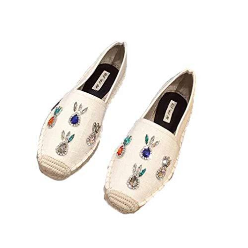Alpargatas de Mujer Decoración de Diamantes de imitación Costura de Color sólido Deslizamiento de Lona en los Zapatos Casuales Planos Superiores Bajos Mocasines Transpirables para Caminar
