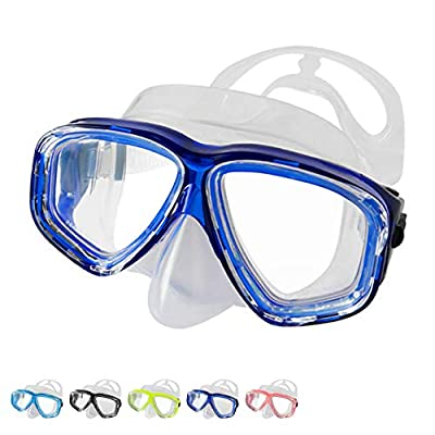 BPS Snorkeling Dive Glasses - Anti-Fog Scuba Diving Mask with Wide/Panoramic Tempered Lens (Blue)