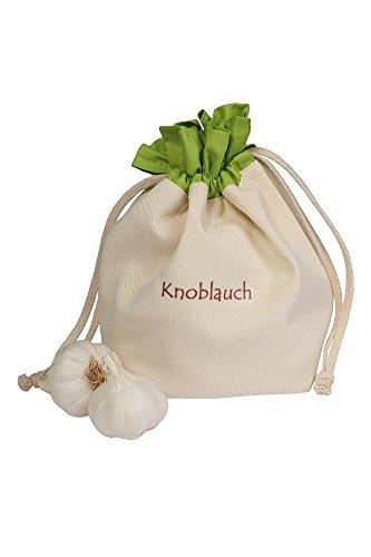 Gemüsebeutel aus Baumwolle, für Knoblauch, praktisch und schön aufbewahren, 15 x 20 cm