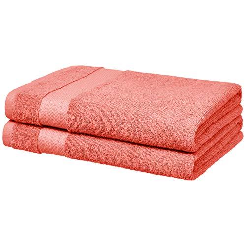 AmazonBasics – Toallas de altas prestaciones, 2 de baño, Rosa coral