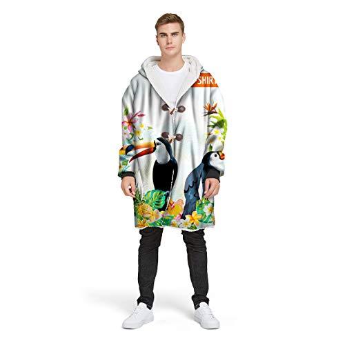NAID Adult Hooded Deken Sweatshirt Trui met Knop TV Pluche Jas 3d Tropische Papegaai Print Mouw Hoodie Deken