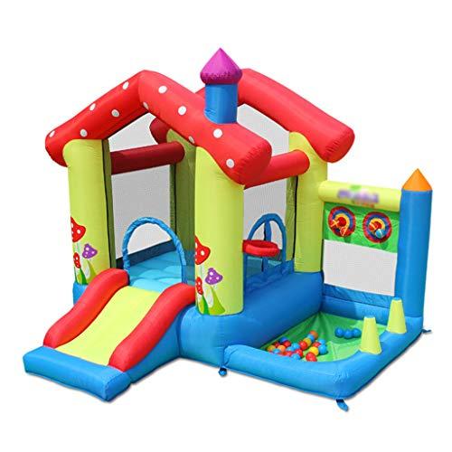 ZHDDM Castillo Hinchable Pequeño e Inflable para Niños con Soporte de Baloncesto, Tobogán, Piscina de Bolas Marinas y Gran Área de Salto (Incluyendo Soplador y Bolsa de Agua)
