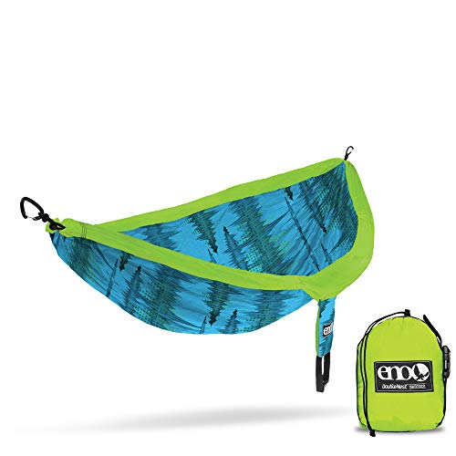 ENO, Eagles Nest Outfitters DoubleNest Print Lightweight Camping Hammock, 1 to 2 Person, Soundwave/Aqua