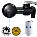 PUR PFM100B Faucet Water Filtration System, Horizontal, Black 13 PUR ADVANCED FAUCET WATER FILTER:PUR Advanced Faucet Filter in Chrome attaches to your sink faucet, for easy, quick access to cleaner, great-tasting filtered water. A CleanSensor Monitor displays filter status, so you know when it needs replacement. Dimensions: 6.75 W x 2.875 H x 5.25 L FAUCET WATER FILTER: PUR's MineralClear faucet filters are certified to reduce over 70 contaminants, including 99% of lead, so you know you're drinking cleaner, great-tasting water. They provide 100 gallons of filtered water, or 2-3 months of typical use WHY FILTER WATER? Home tap water may look clean, but may contain potentially harmful pollutants & contaminants picked up on its journey through old pipes. PUR water filters, faucet filtration systems & water filter pitchers reduce these contaminants
