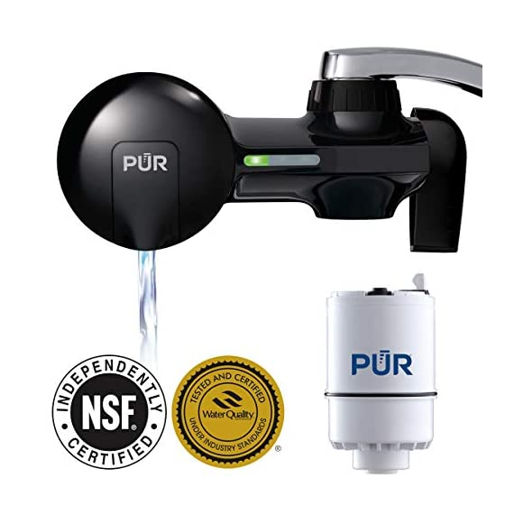 PUR PFM100B Faucet Water Filtration System, Horizontal, Black 5 PUR ADVANCED FAUCET WATER FILTER:PUR Advanced Faucet Filter in Chrome attaches to your sink faucet, for easy, quick access to cleaner, great-tasting filtered water. A CleanSensor Monitor displays filter status, so you know when it needs replacement. Dimensions: 6.75 W x 2.875 H x 5.25 L FAUCET WATER FILTER: PUR's MineralClear faucet filters are certified to reduce over 70 contaminants, including 99% of lead, so you know you're drinking cleaner, great-tasting water. They provide 100 gallons of filtered water, or 2-3 months of typical use WHY FILTER WATER? Home tap water may look clean, but may contain potentially harmful pollutants & contaminants picked up on its journey through old pipes. PUR water filters, faucet filtration systems & water filter pitchers reduce these contaminants