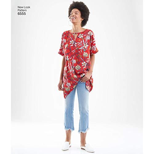 New Look Schnittmuster D0932/6555 – Schlüsselloch-Hemd für Damen, Größe: A (XS-S-M-L-XL)