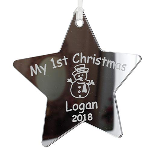 Personalised My 1st Christmas Babies Tree Decoration Gift First Baby Xmas Bauble 2020 Present ANY TEXT for Children Grandchildren (Silver Mirror Acrylic 10cm Star)