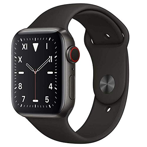 Apple Watch Series 5 (GPS + Cellular, 44mm) Titanium Space Black Case with Black Sport Band (Renewed)