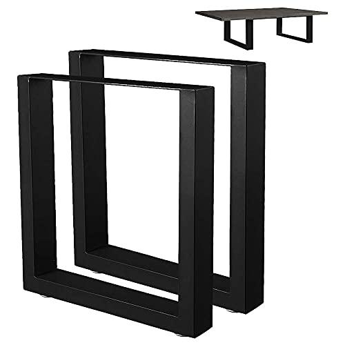 Bakaji Set 2 Gambe da Tavolo Dimensione 43 x 40 cm in Metallo Piedi per Tavolino Salotto e Panche con Piedini Antiscivolo Regolabili Design Moderno Industriale Colore Nero
