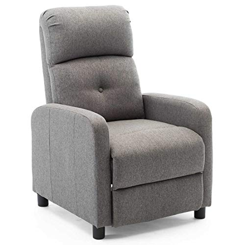 More4Homes MILTON MODERN FABRIC PUSHBACK RECLINER ARMCHAIR SOFA COMPACT RECLINNING CHAIR (GREY)