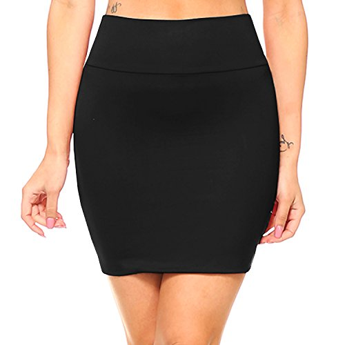 Fashionazzle Women's Casual Stretchy Bodycon Pencil Mini Skirt (Large, KS06-Black/Spandex)