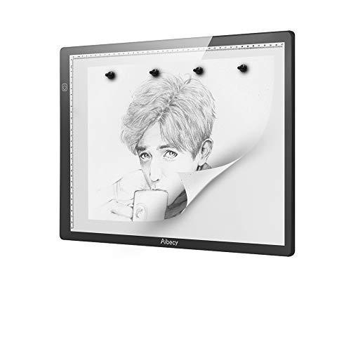 Aibecy Cuadro de luz de Seguimiento LED A4 magnético Brillo Regulable Ultrafino sin escalones Brillo Artcraft Tablero de Mesa de luz con Escala Tablero de Copia portátil Alimentado por USB