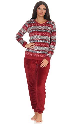 NORMANN wasmachine knuffelige dames pyjama lange mouwen met manchetten van coral fleece in leuk Noors patroon