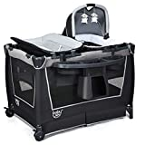 BABY JOY 4 in 1 Portable Baby Playard with Bassinet, Changing Table, Foldable Bassinet Bed & Activity Center, Newborn Napper with Toys & Music, Large Capacity Storage Shelf, Oxford Carry Bag (Grey)