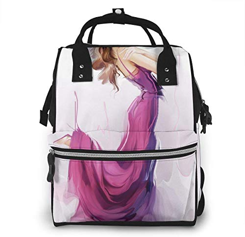 UUwant Sac à Dos à Couches pour Maman Large Capacity Diaper Backpack Travel Manager Baby Care Replacement Bag Nappy Bags Mummy Backpack,(Girl in A Lavender Dress