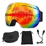 Lolypot Gafas de Esquí Gafas de Snowboard OTG Anti Niebla Anti-vaho protección UV Lente Doble Gafas de Esquiar Casco Gafas de esquí compatibles para Mujeres y Hombres Snowboard, esquí, Skating