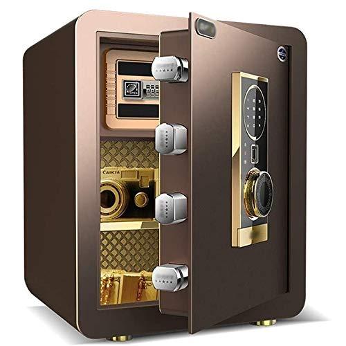 Caja Fuerte Digital para Oficina o Uso Doméstico,Huella Dactilar Desbloqueada, para Montaje en Pared o Suelo (38 * 31 * 45cm), Negro,Gold LQ&XL/Brown