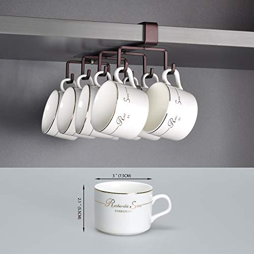 Adhesive XL Cup Holder Under Cabinet - Extra Large Hook Distance, 8 Hook Coffee Cup Mug Holder for Kitchen - Only Fit for Flat Buttom Cabinet Without Any Lip
