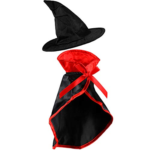 Frienda 2 Pieces Halloween Pet Costume Set, Include Pet Cape Vampire Costume Cloak and Pet Witch Hat for Cat Puppy Cosplay Party Supplies (Basic)