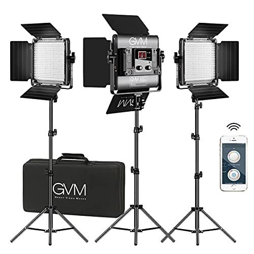 GVM LED Videoleuchte mit Stativ, APP Control 480 LED Fotobeleuchtung für YouTube Studio Videolicht Set, CRI97 Zweifarben LED Panel 2300K-6800K Video lichtstand Beleuchtung (3er Pack)