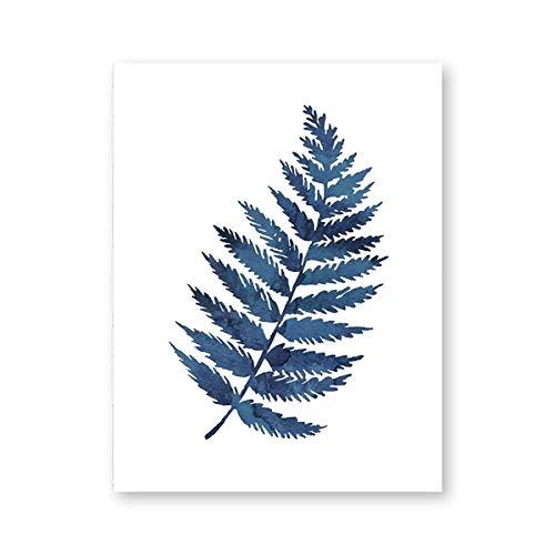 ZHJJD Poster e Impresiones de helechos Tinta de Acuarela Hoja de índigo Azul Lienzo Pintura Ilustración botánica Maidenhair Arte de la Pared Decoracion para el hogar 40x60cm Sin Marco