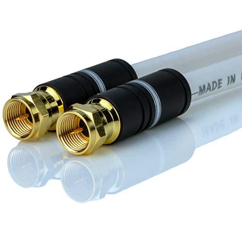 DCSk 3 m Sat Kabel Weiß - Satellitenkabel 5-Fach abgeschirmt 125 dB 75 Ohm - Koaxialkabel für digitales Fernsehen TV Receiver Radio