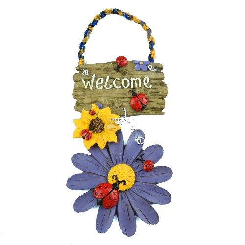 """Gardeningwill - Cartello di benvenuto dipinto a mano, in resina, con motivo """"Fiori bianchi e coccinelle"""", da appendere alla porta, decorazione per amb"""