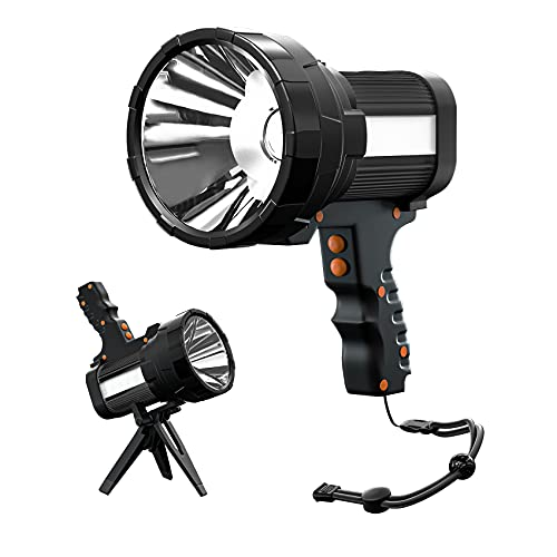Rechargeable Spotlight, Super Bright 6000Lumen Handheld Flashlight with Foldable Tripod, 10000mAh Spot Light with USB Power Bank, 6 Modes IP44 Searchlight for Fishing Hiking with Wristband