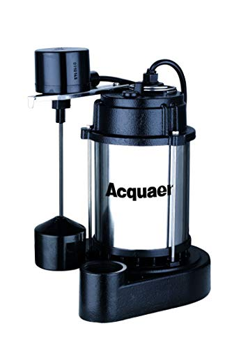 Acquaer 3/4 HP Durable Cast Iron And Stianless Steel Submersible Sump Pump With Vertical Piggy-Back Float Switch