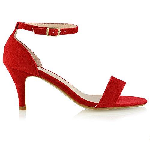 ESSEX GLAM Donna Tacco Basso Peep Toe Stiletto Sintetico Cinturino alla Caviglia Sandalo (UK 4 / EU 37 / US 6, Rosso Finto Scamosciato)
